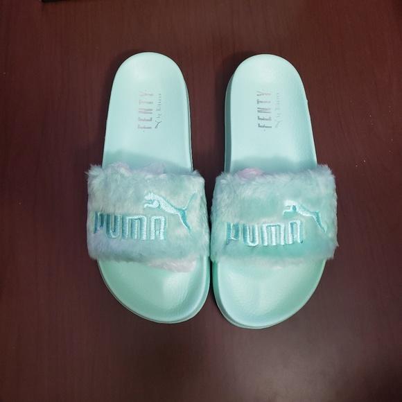 sale retailer cd807 97eae Puma x Fenty fur bay mint green slides sandals NEW NWT
